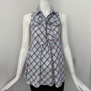 Burberry blue check blouse